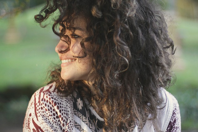 woman thick curly hair